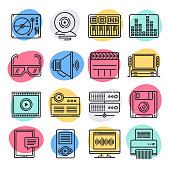 Streaming music video game doodle style concept outline symbols. Line vector icon sets for infographics and web designs.