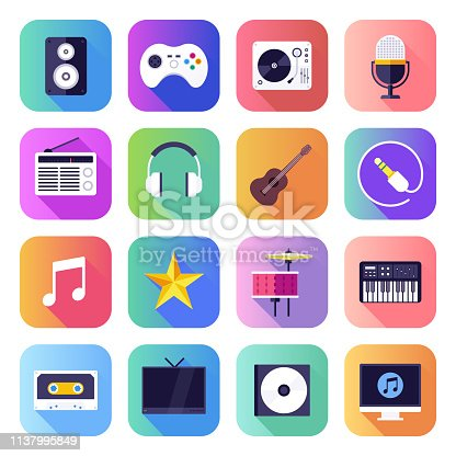 Streaming on-demand music platforms flat smooth gradient style concept symbols. Flat design vector icons set for infographics, mobile and web designs.