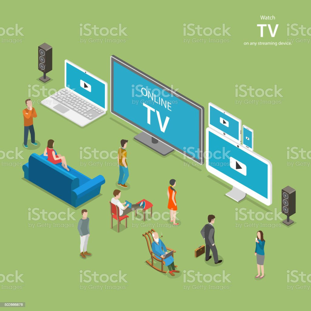 Streaming TV isometric flat vector illustration. vector art illustration