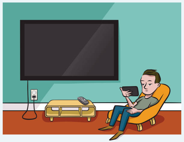 Streaming Video A man watches tv on his phone instead of his wide-screen television watching tv stock illustrations