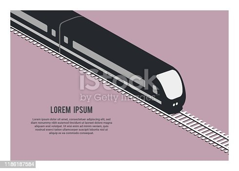 simple illustration of a streamline pasenger train silhouette in isometric view