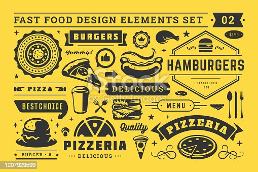 Street and fast food signs and symbols with retro typographic design elements vector set for restaurant menu decoration. Pizza, burger and sandwich silhouettes vector illustration.
