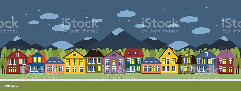 Street and houses. vector art illustration