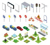 Street and Park Objects Set Isometric View. Outdoor Object in City, Urban Design Elements. Vector illustration
