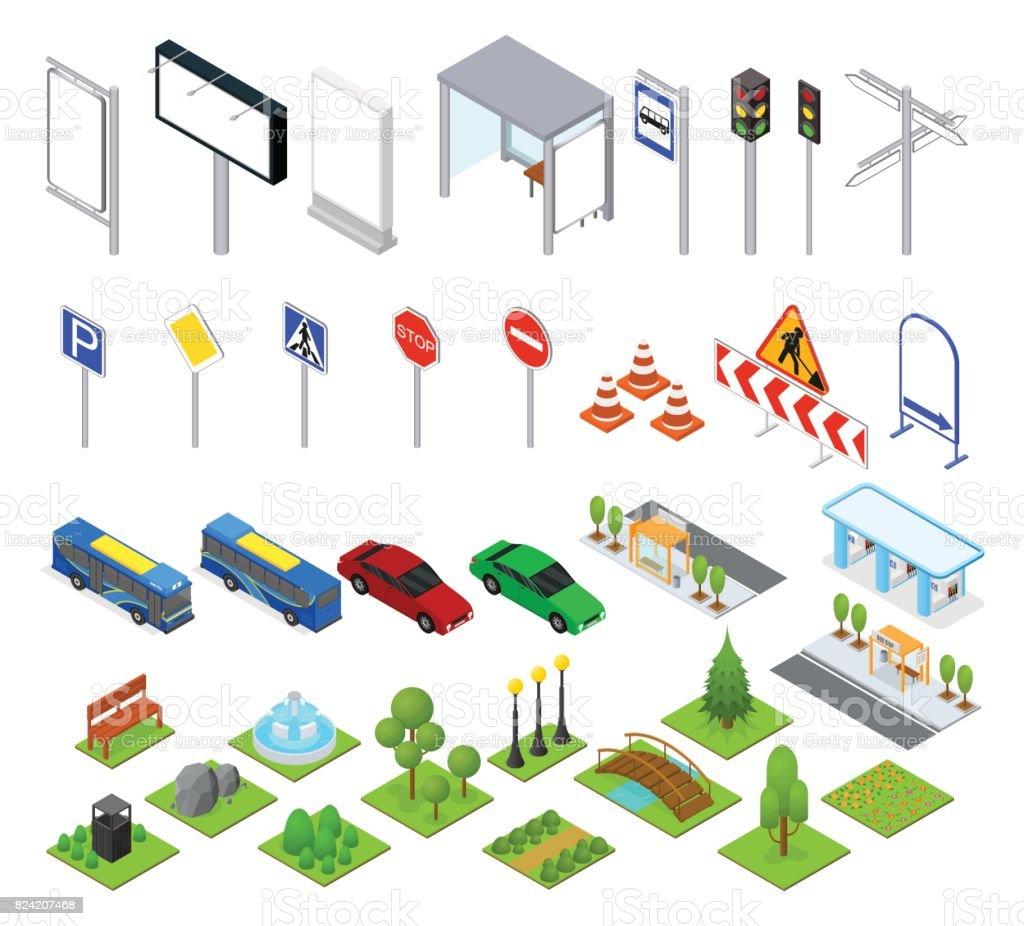 Calle y Parque objetos configurar vista isométrica. Vector de - ilustración de arte vectorial