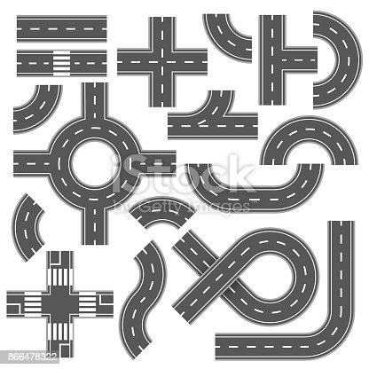 istock Street and road with footpaths and crossroads. Vector elements for city map 866478322