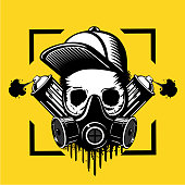 treet art artist. Skull in a protective mask and paint spray can. Tattoo style illustration. Underground culture emblem.