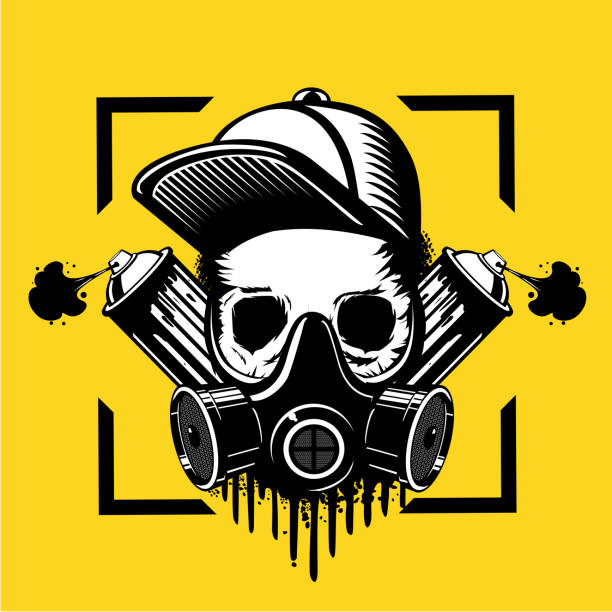 Street art artist. treet art artist. Skull in a protective mask and paint spray can. Tattoo style illustration. Underground culture emblem. street art stock illustrations