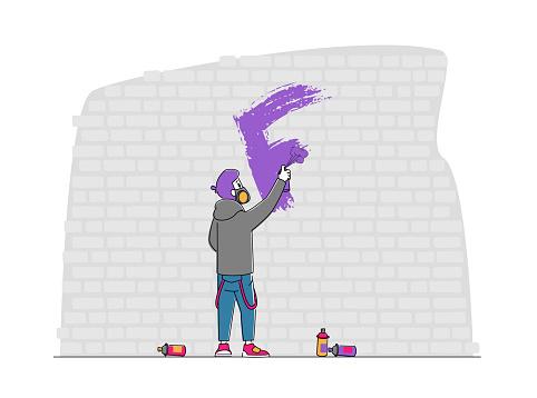 Street Artist Teenager in Respirator Painting Graffiti on Wall. Urban Art, Teen Lifestyle. Young Man Creative Activity