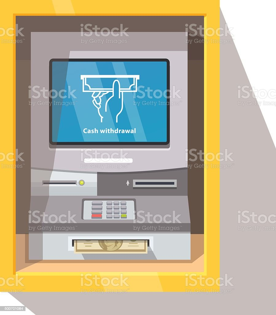Street ATM teller machine with current operation vector art illustration