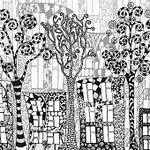 Street background. Artistically houses and trees.