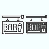 Street Bar Signboard line and solid icon. Bar signboard vector illustration isolated on white. Bar sign with pint of beer outline style design, designed for web and app. Eps 10