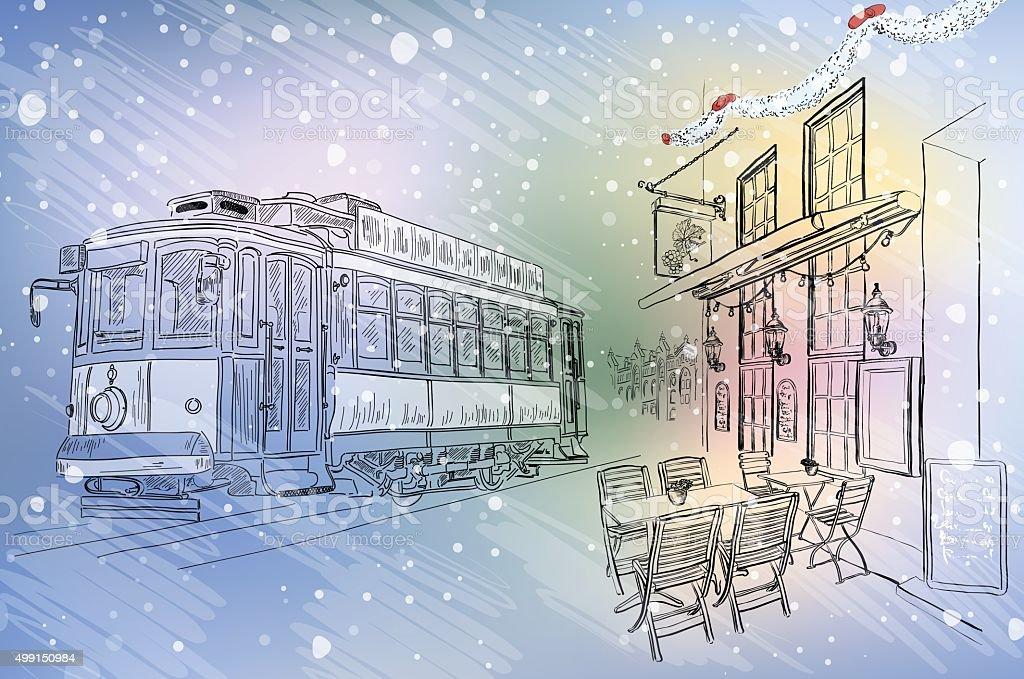 Rua café e eléctrico em natal, cidade - Royalty-free 2015 arte vetorial