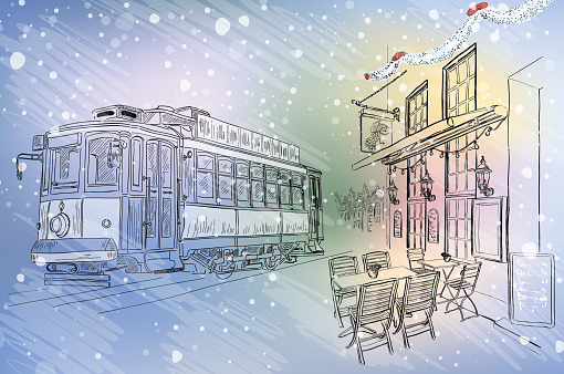 Rua Café E Eléctrico Em Natal Cidade - Arte vetorial de stock e mais imagens de 2015