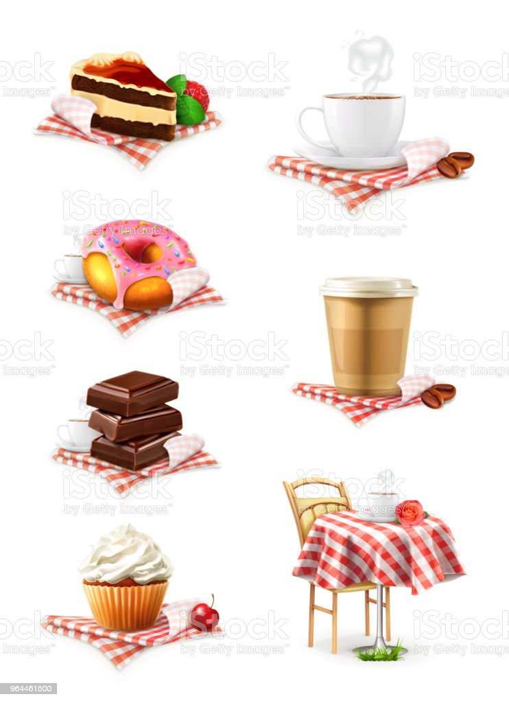 Strassencafe Schokolade Kuchen Kuchen Kaffee Krapfen Vektoriconset