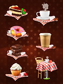 Street cafe, chocolate, cupcake, cake, cup of coffee, donut, vector icon set on dark background