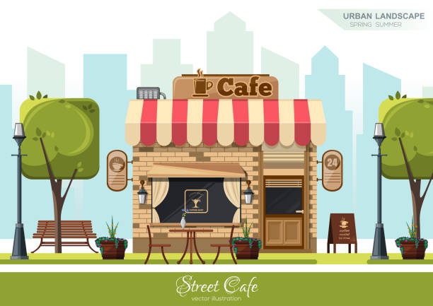 ilustrações de stock, clip art, desenhos animados e ícones de street cafe. coffeeshop. city cafe - coffe shop