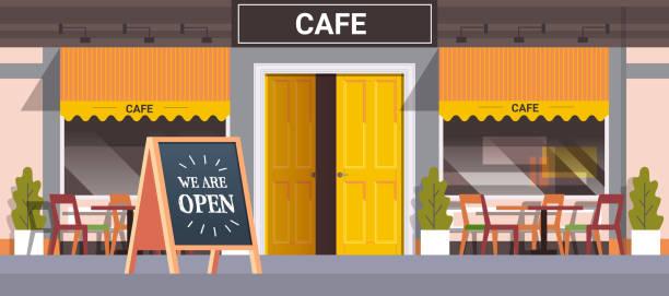 ilustrações de stock, clip art, desenhos animados e ícones de street cafe facade with we are open board urban building house exterior coronavirus quarantine is over - covid restaurant
