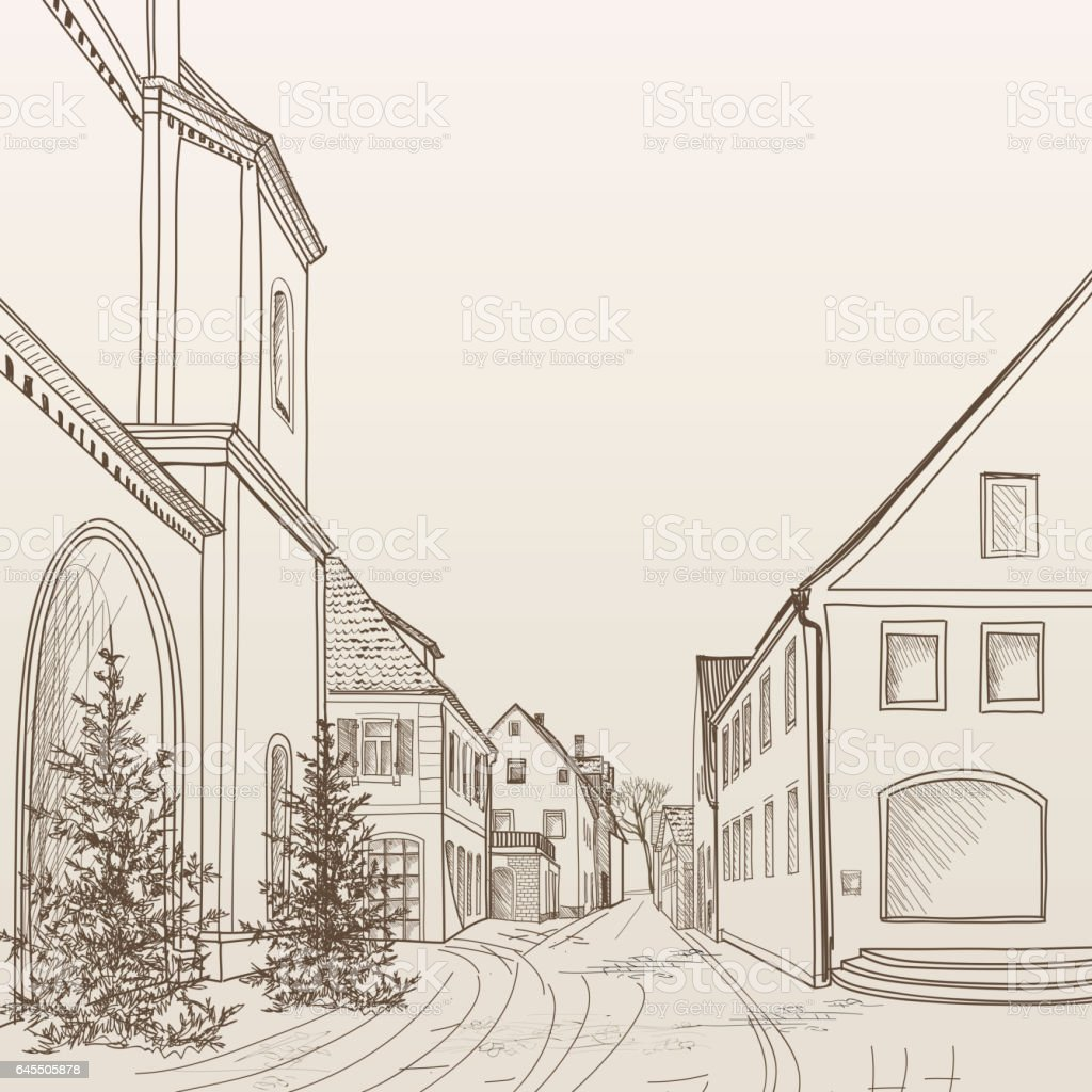 Street cafe in old city. Cityscape - houses, buildings and tree on alleyway. Old city view. Medieval european castle landscape. Pencil drawn editable vector sketch vector art illustration
