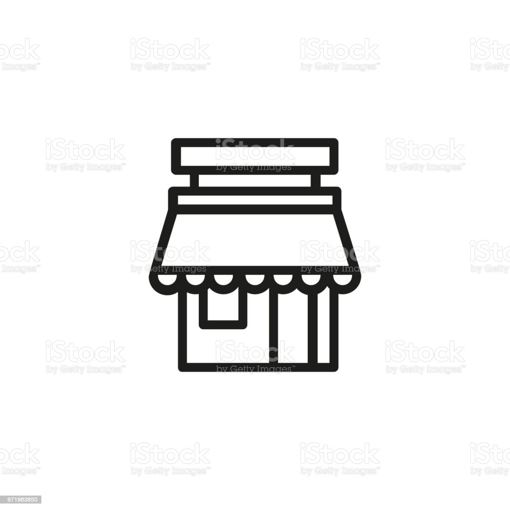 Street cafe line icon vector art illustration