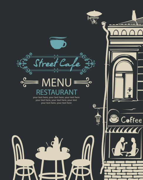 street cafe menu with table for two in an old town - date night stock illustrations