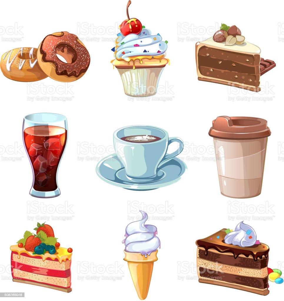Strasse Cafe Produkte Vektorcartoon Satz Schokolade Cupcake Kuchen