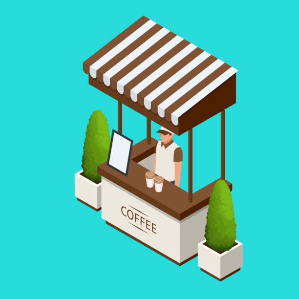 straßencafé förderung stehen oder ausstellung standands, handout auf blauem hintergrund isoliert vektor-illustration - ausstellungstische stock-grafiken, -clipart, -cartoons und -symbole