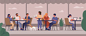 Young People Characters Dinning and Working in Street Cafe. Woman and Man Talking, Drinking Coffee and Eating. Crowded Outdoor Restaurant or Bar in City. Flat Cartoon Vector Illustration.