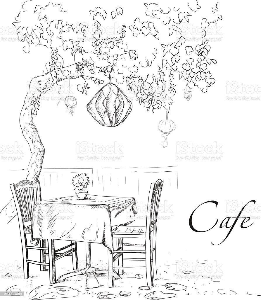Street cafe view with tree and coffee table vector art illustration