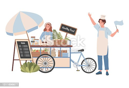 istock Street cart with healthy food and beverages vector flat illustration. Happy woman selling healthy natural food. 1311696677