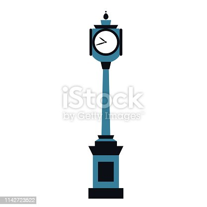 Street clock flat illustration on white background. Travel and world culture series.
