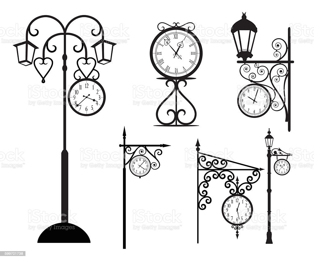 Street Clock - Illustration vector art illustration