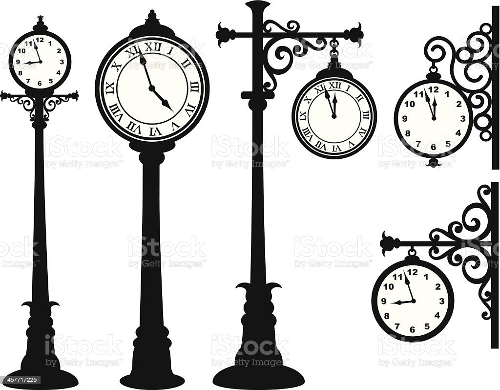 Street Clock vector art illustration