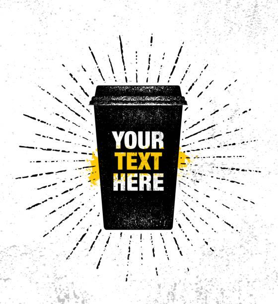 bildbanksillustrationer, clip art samt tecknat material och ikoner med gatan kaffe inspirerande cafe dekoration kreativa motivation citat affisch mall. kök art vektor typografi banner designkoncept på grunge konsistens grov bakgrund - kaffekopp