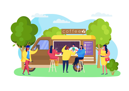Street coffee truck at park, vector illustration. Beverage portable cafe, takeaway hot drinks cup, catering business. Client
