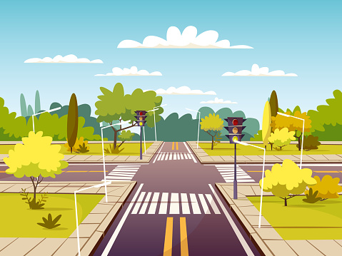 Street crossroad vector cartoon illustration of traffic lane and pedestrian crossing or crosswalk with marking