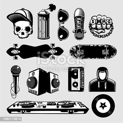 Street culture icons set. Hip-hop and rap signs collection on isolated background.