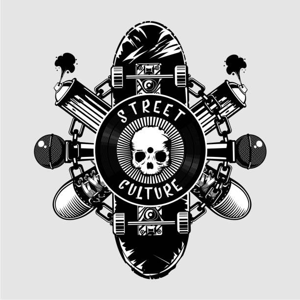 bildbanksillustrationer, clip art samt tecknat material och ikoner med gatukultur affisch med skalle och skateboard - hip hop poster