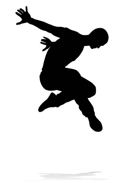 Street Dance Dancer Silhouette A male street dance hip hop dancer in silhouette human representation stock illustrations
