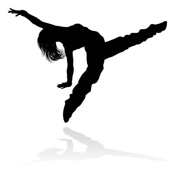 bildbanksillustrationer, clip art samt tecknat material och ikoner med street dance dansare silhuett - street dance