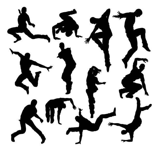 Street Dance Dancer Silhouettes A set of male street dance hip hop dancers in silhouette human representation stock illustrations