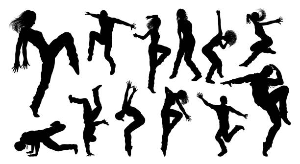 Street Dance Dancer Silhouettes A set of men and women street dance hip hop dancers in silhouette female likeness stock illustrations