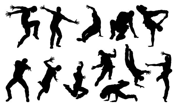 illustrations, cliparts, dessins animés et icônes de street dance danseuse silhouettes - danser