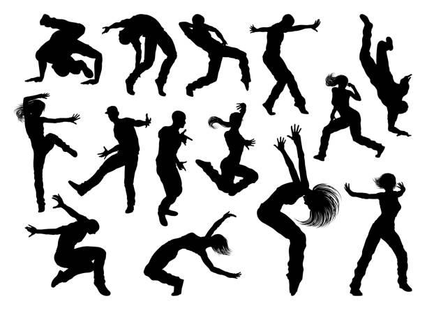 illustrations, cliparts, dessins animés et icônes de silhouettes de danseur de danse de rue - hip hop