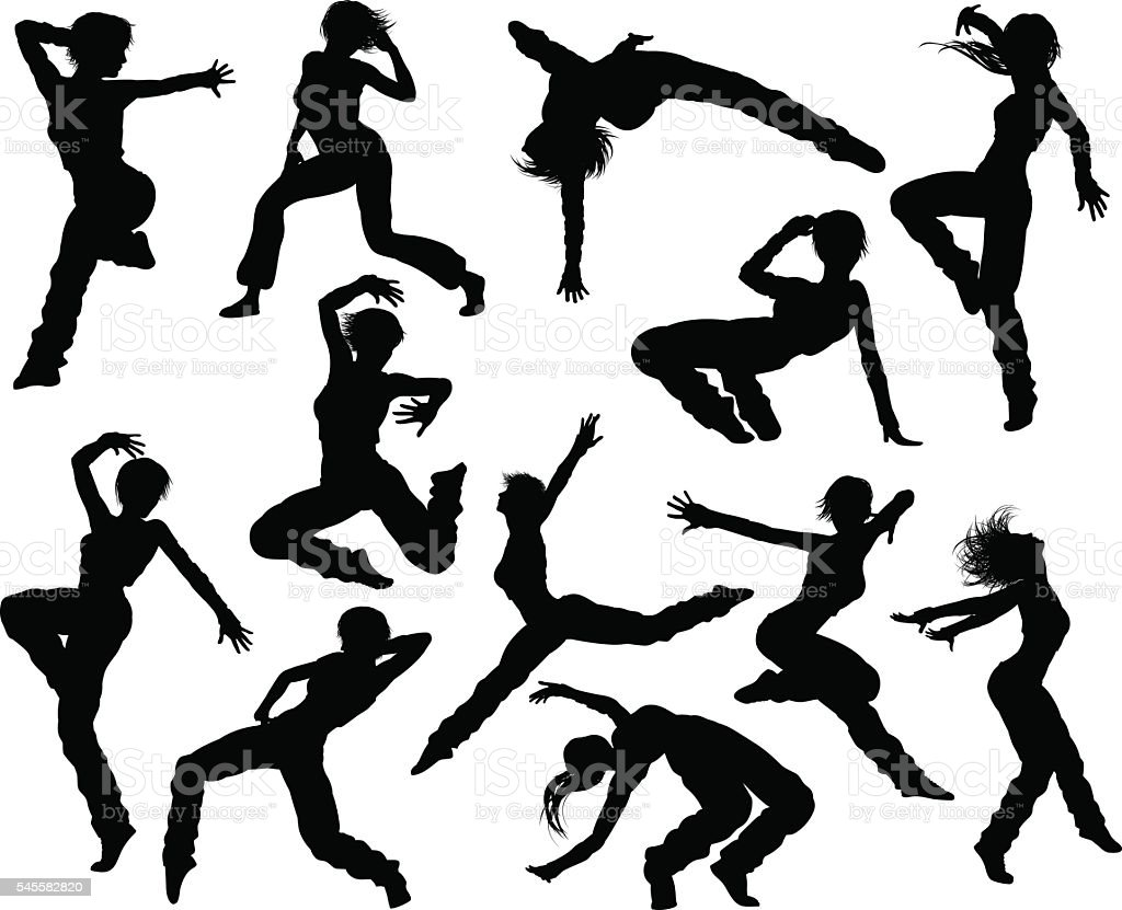 Street Dance Dancer Silhouettes vector art illustration
