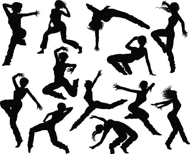 illustrations, cliparts, dessins animés et icônes de street dance dancer silhouettes - danser