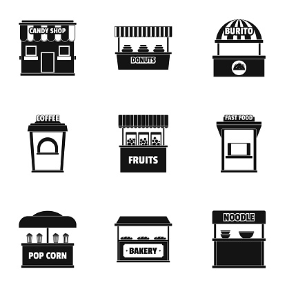 Street eating icons set, simple style