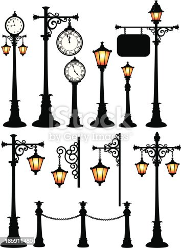 Street Clock, Street Lamp. ZIP contains AI format, PDF and jpeg Large.