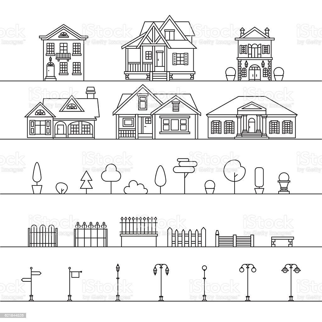 Street elements vector art illustration