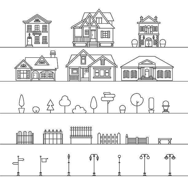 Street elements Vector outdoor elements: houses, fences, trees, street signs and lamps. Street elements isolated on white. villa stock illustrations